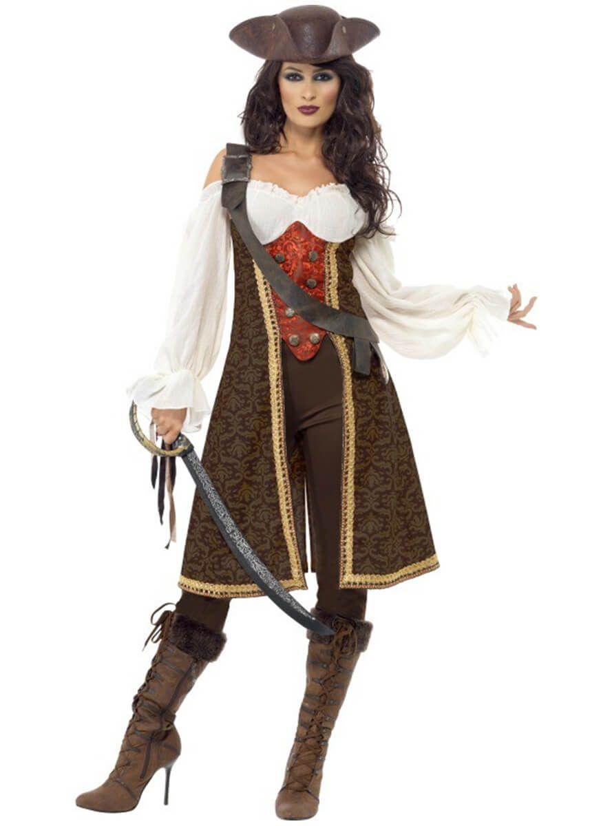 Traje de pirata del Caribe con casaca para mujer  5f24ddca51d1