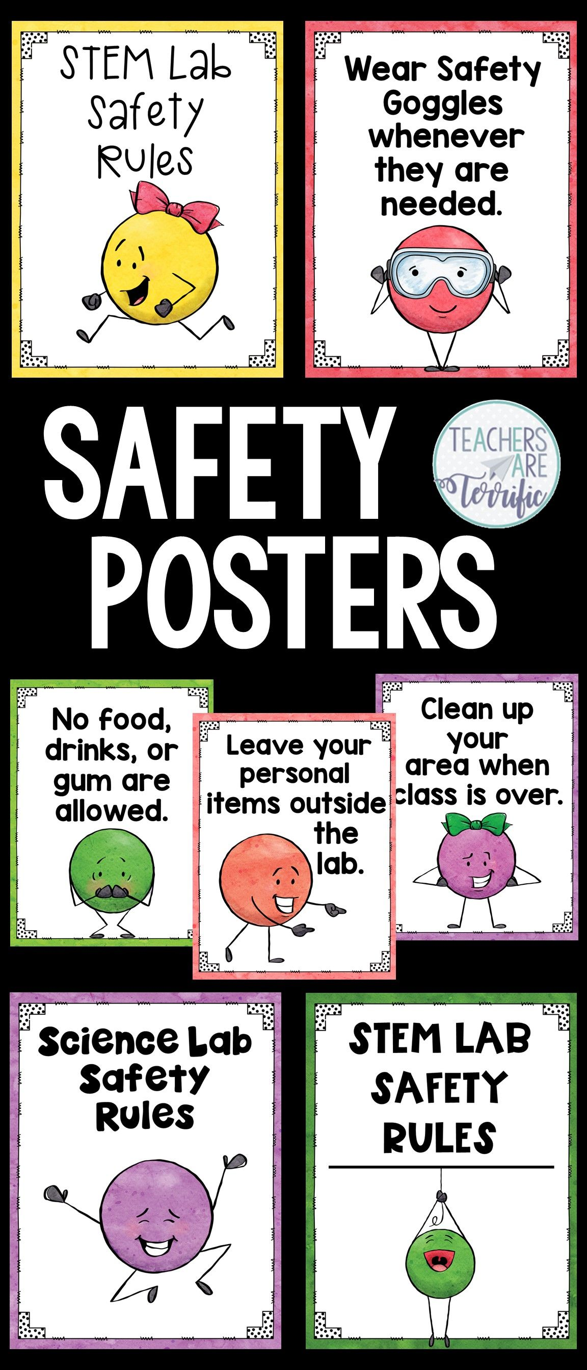 Science Safety Rules Posters Featuring Dot People And