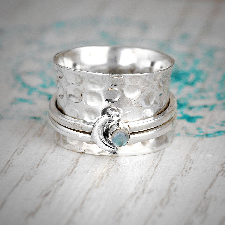 Spinner Ring Crescent Moon ring Boho Wide band Ring Meditation Hammered Ring Fidget Ring Moonstone ring Sterling Silver Ring for Women