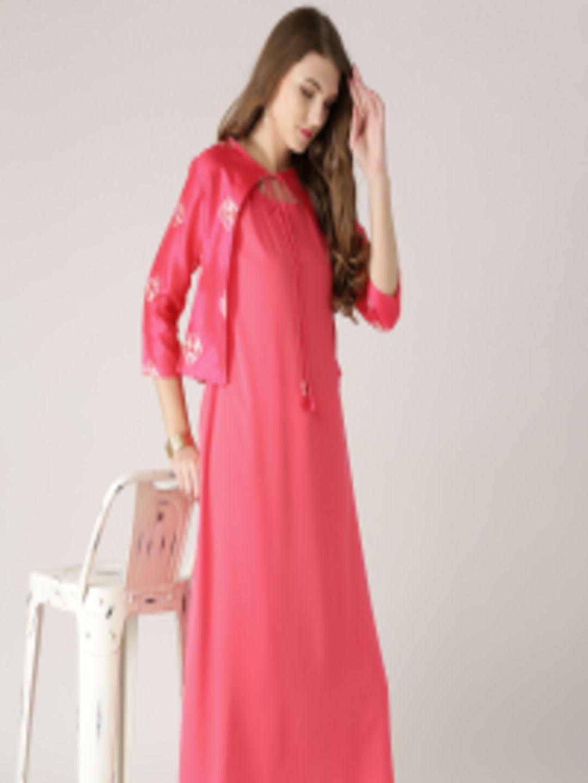 d6f90bea6f1 Buy Libas Women Pink Solid A Line Kurta With Ethnic Jacket - Kurtas for  Women 1991297