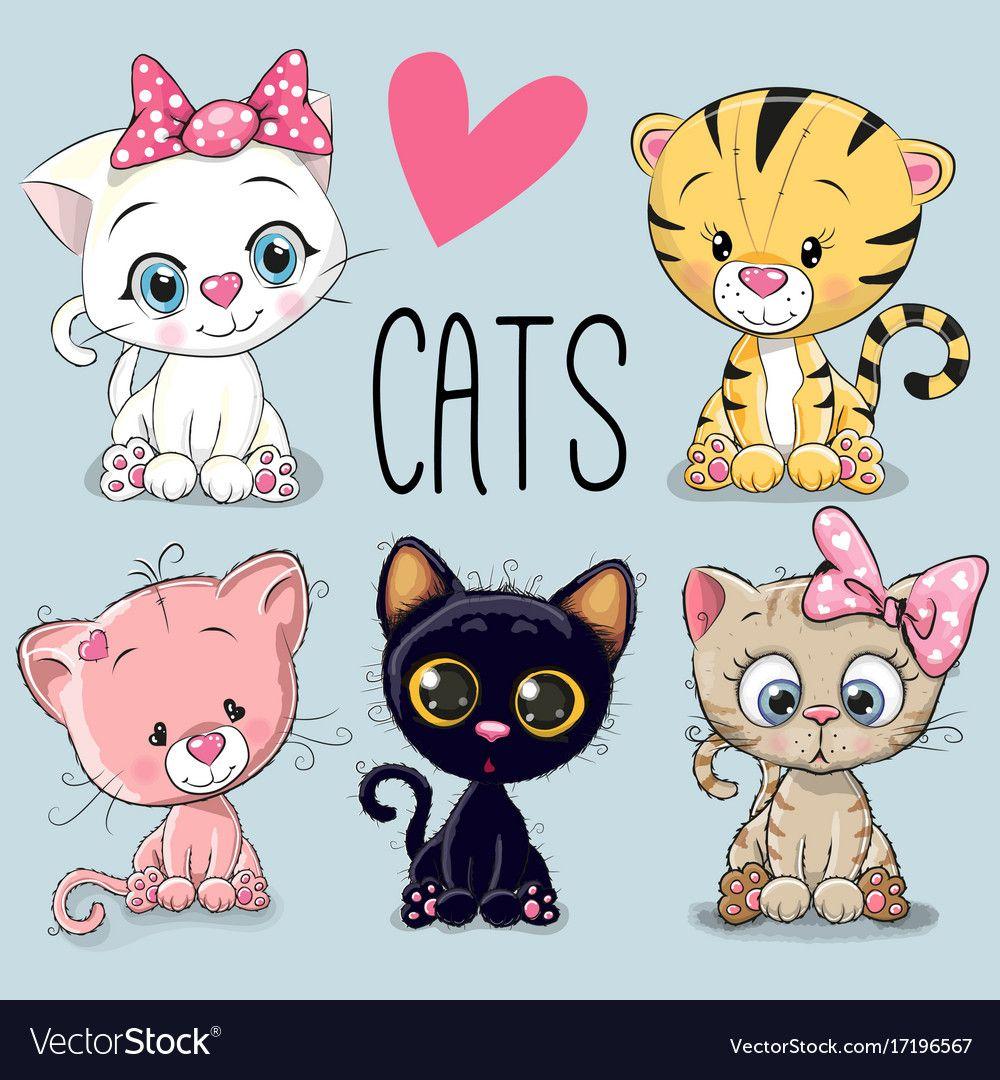 Set Of Cute Cats Vector Image On Cute Art Cute Drawings Cat Vector