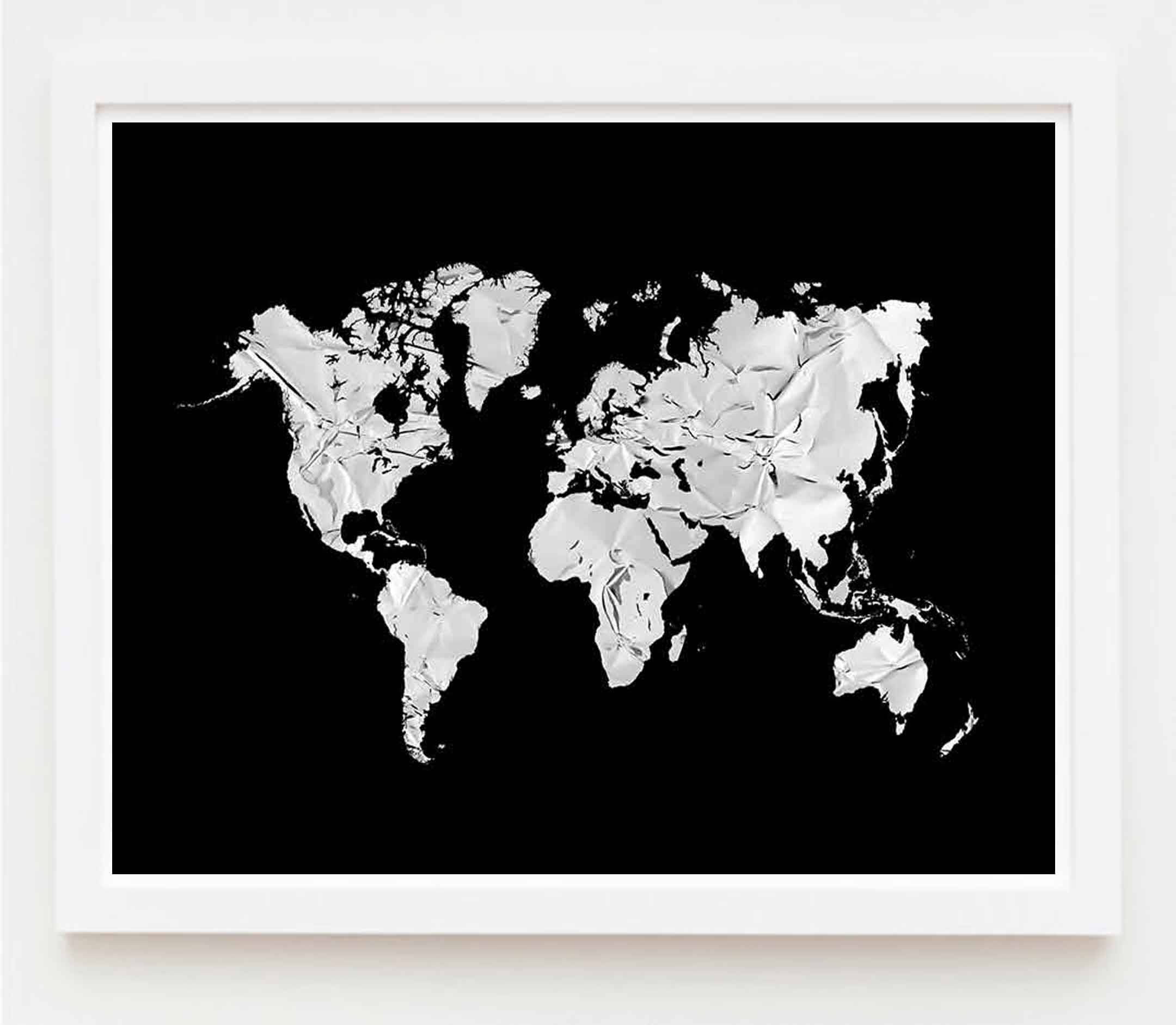 Silver world map wall art print silver world map poster travel silver world map wall art print silver world map poster travel world map gumiabroncs Image collections
