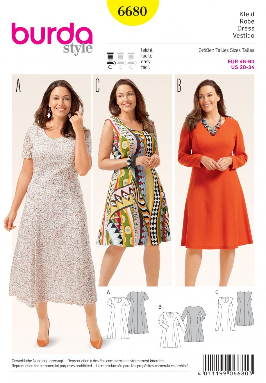 3140f9e85937 Burda B6680 Women s Dress Sewing Pattern