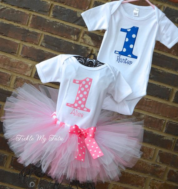 BoyGirl Twin Blue and Pink Polka Dot Party Themed by TickleMyTutu