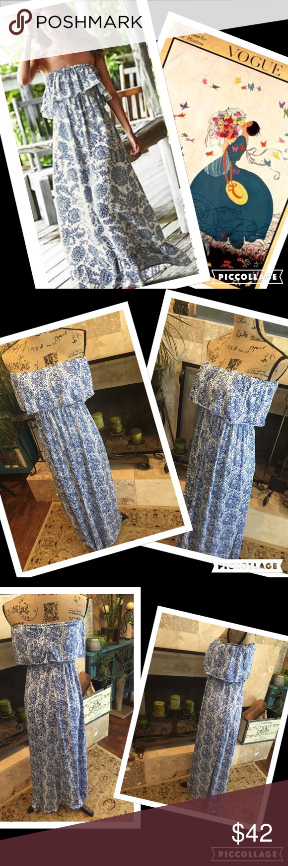 """Summer boho maxi dress Summer Women BOHO Bandeau, Cocktail, Evening, Party, Long Maxi, Beach Dress, Sundress. I'm 5'6"""" and comes slightly above my ankles.  Size small to medium for more flowing effect. A size large can do, will be a tad more fitted. Polyester blend. It has a lot of stretch to it. Slightly brighter on the blue than pics allow. This is not Victoria's Secret. It has similar look, pic is to give idea. Boutique Dresses Strapless"""