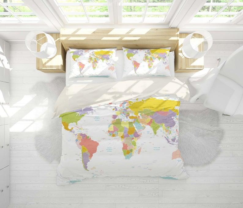 3d Detail World Map Bedding Set Quilt Cover Quilt Duvet Cover Etsy Quilted Duvet Cover Quilt Cover Sets Map Bedding