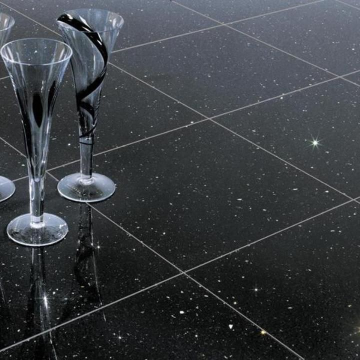 These Sparkly Black Quartz Tiles Are Ideal As Black Quartz Floor