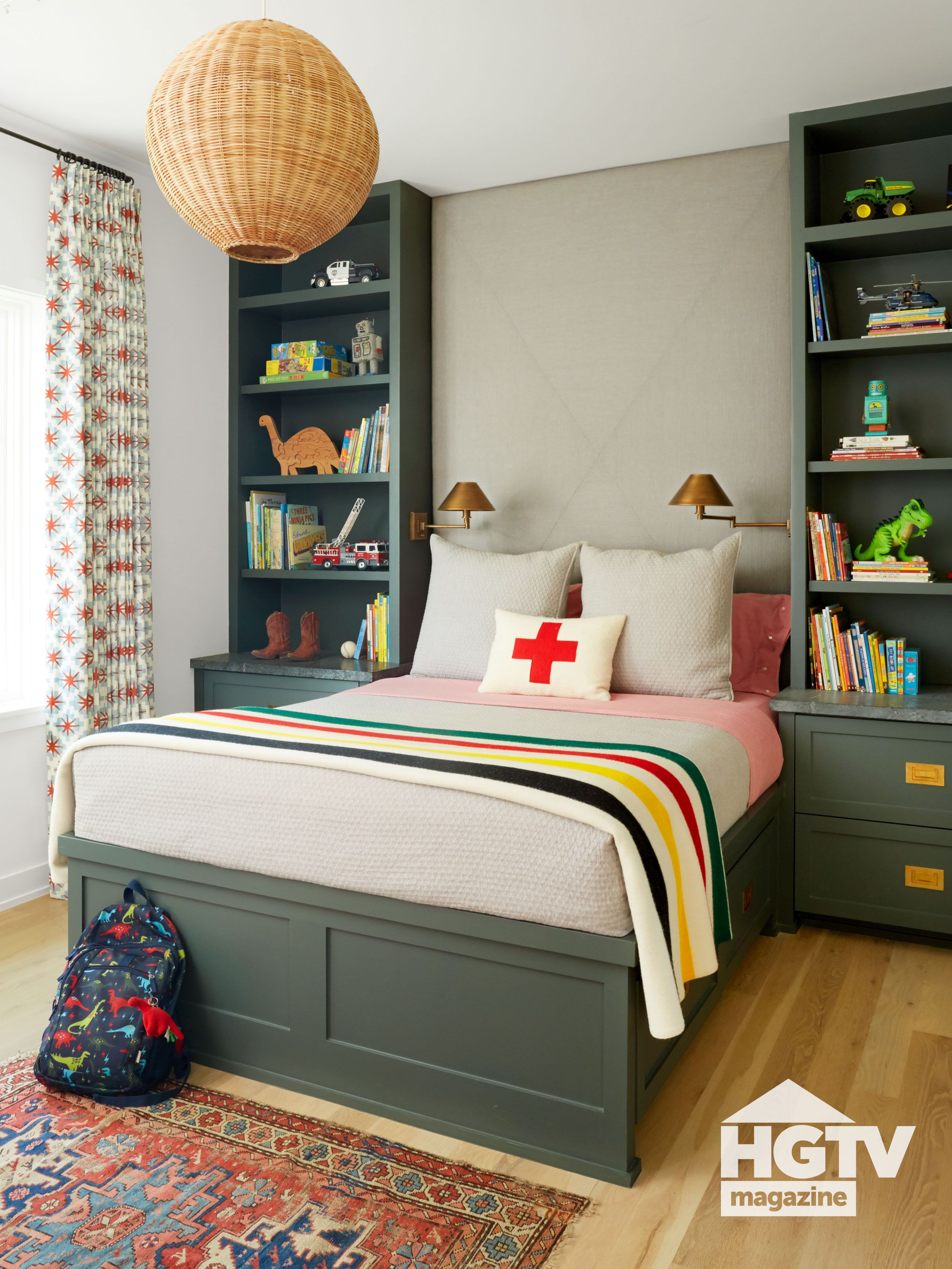 A Hunter Green Bed Frame And Matching Book Shelves Decorate A Boy S Bedroom A Rattan Pendant A Striped Throw Blan In 2020 Green Bedding Home Bright Bedding