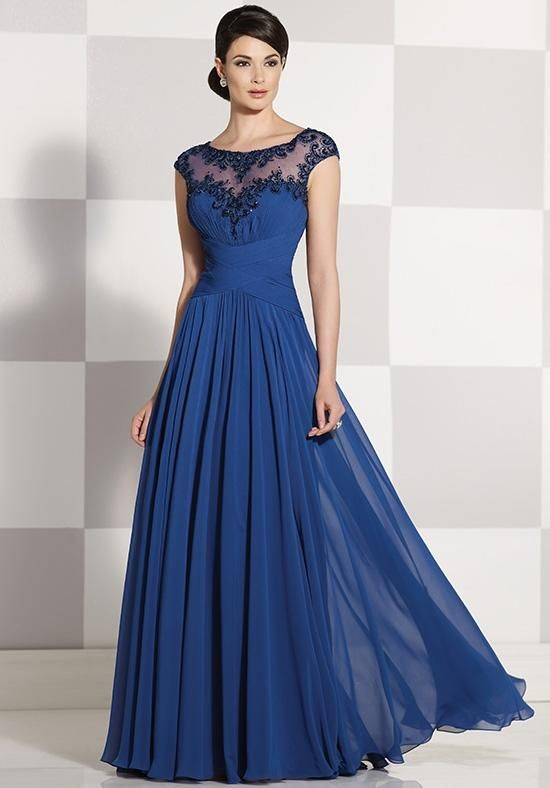 Sleeveless chiffon A-line gown, hand-bead scoop illusion neck and ...