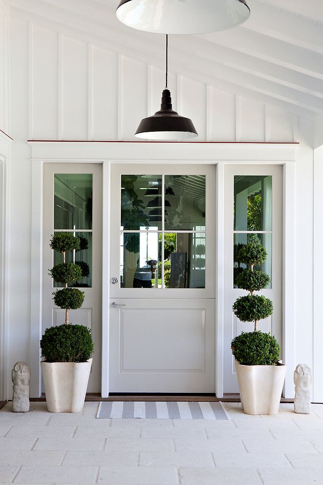 Board and batten door design entry beach style with topiary topiary ...