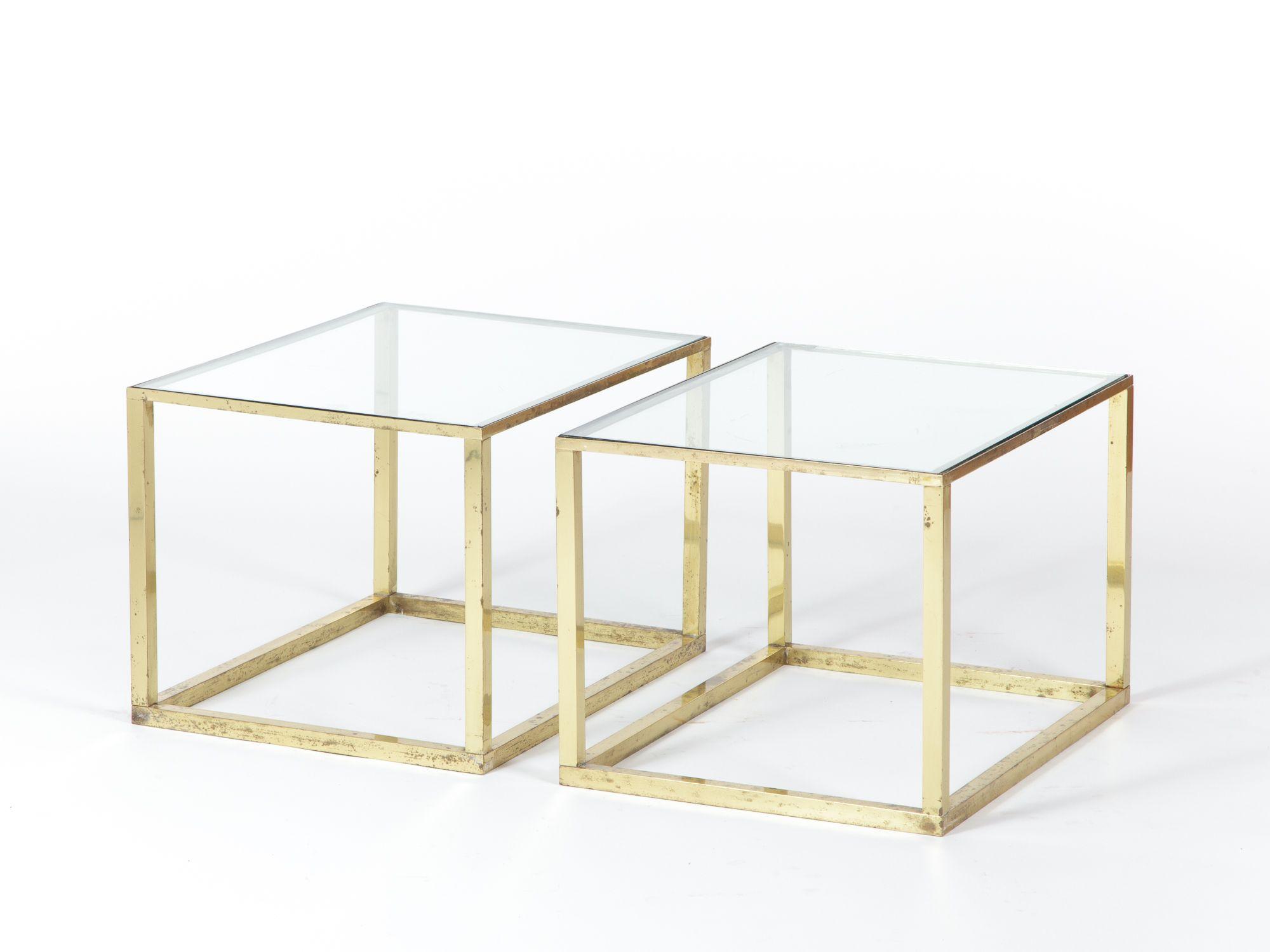 Coppia di tavolini in ottone e vetro collezione tavoli - Tavolini vetro e ottone ...