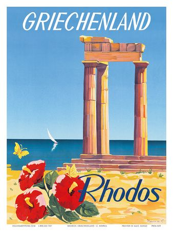 Vintage travel poster of Rhodos Greece, designed by C. Nenna  #kitsakis