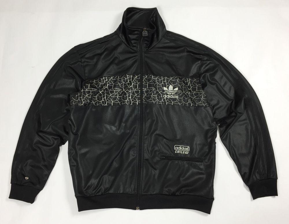 Adidas chile 62 XL felpa tuta vintage usato uomo nera giacca