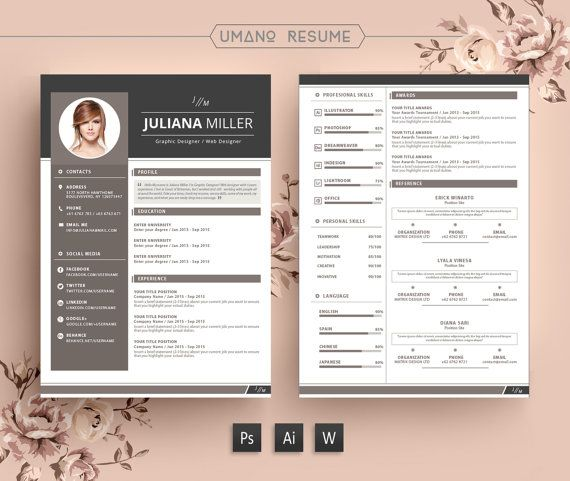 Modern Resume Template + Free Cover Letter For Word | Ai | Psd