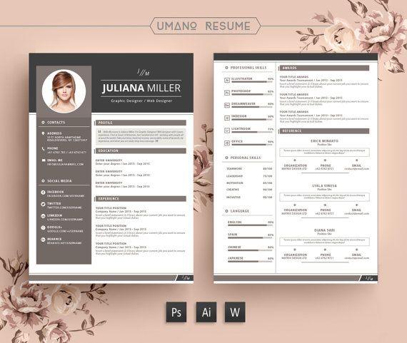 Modern Resume Template Free Cover Letter For Word Ai Psd Diy Printable 3 Pack The Julianna Profes Modele Cv Gratuit Modele De Cv Moderne Modele Cv