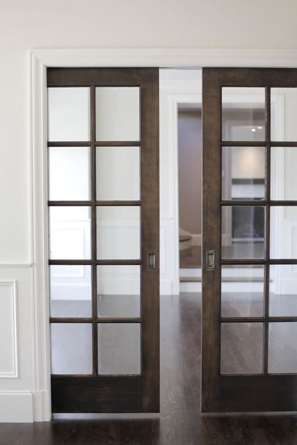 Stained pocket doors details cabinetry millwork Pinterest