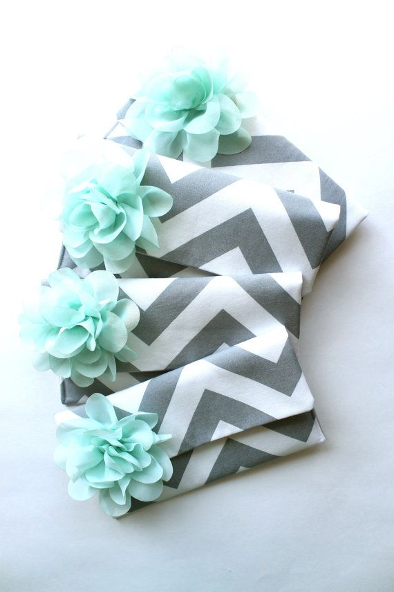 Items similar to Mint and Gray Bridesmaid Clutch Set, Chevron Wedding Bag, Your Choice of Colors on Etsy
