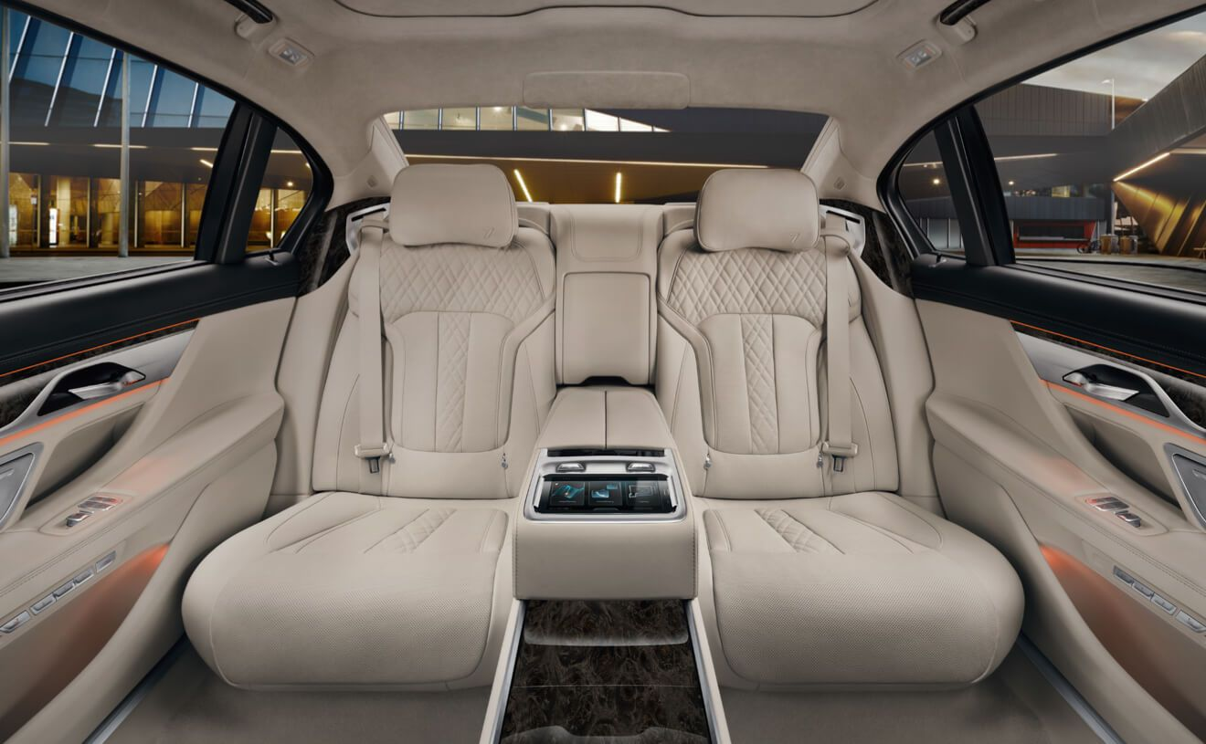 bmw 7 series sedan the rear executive lounge in exclusive ivory