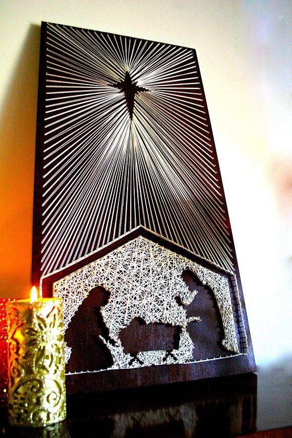Nativity Scene String Art Patterns | Manger Scene String Art DIY | Wooden Nativity | Christmas Craft #stringart