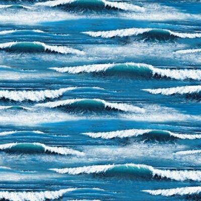 Landscape Medley Ocean Waves Blue Cotton Fabric With Images Ocean Waves Landscape Landscape Fabric