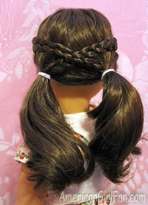 Americangirlfan Doll Hairstyle Cross Braid Pigtails American Girl Hairstyles American Girl Doll Hairstyles Little Girl Hairstyles