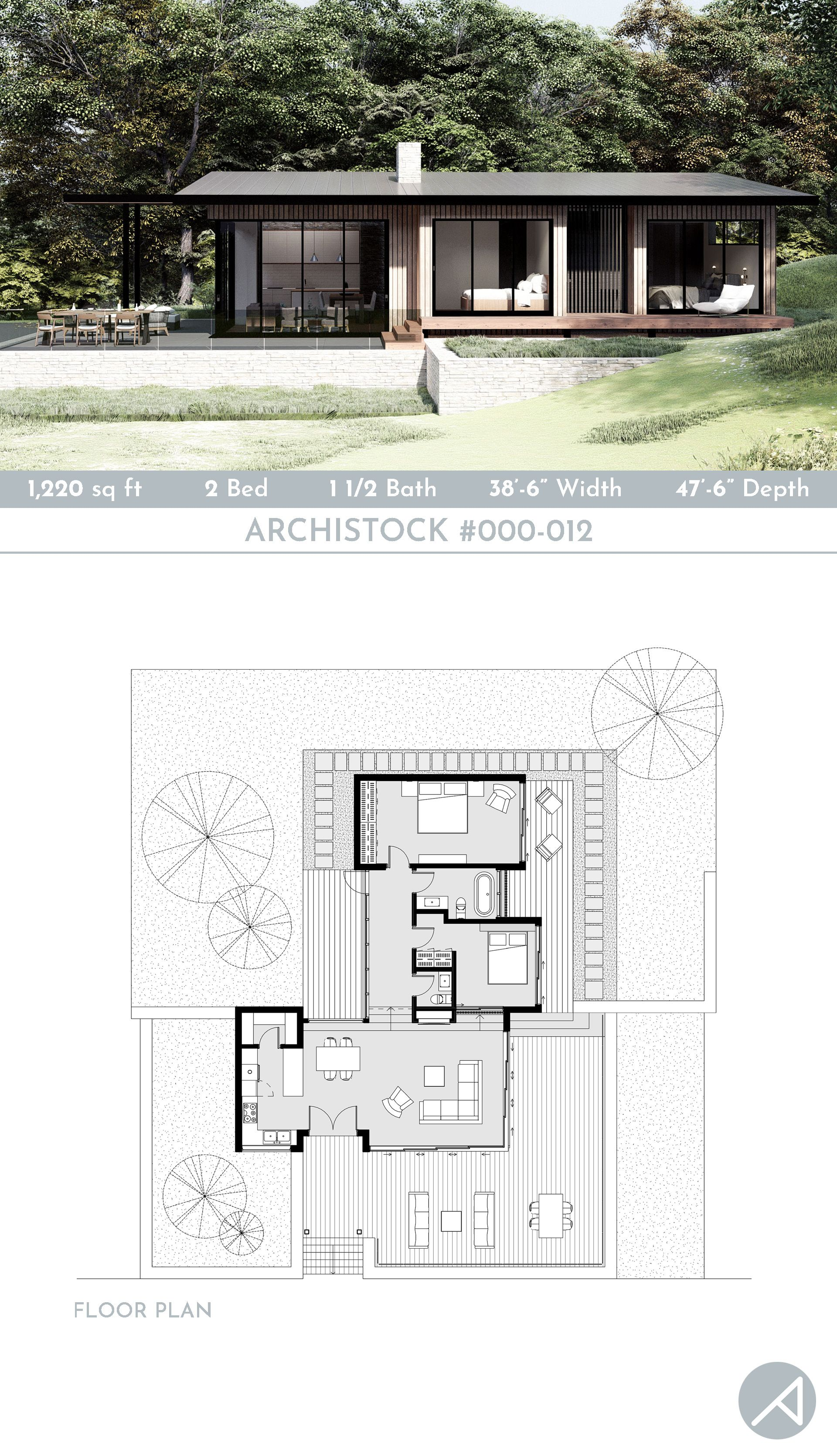 Modern Cabin House Design 1200 Sq Ft In 2020 Guest House Plans Cabin House Plans Cabin Design