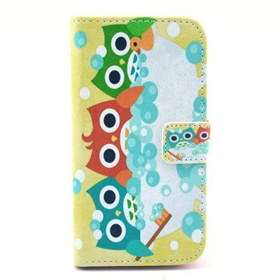 Cute Owl Family Style Flip Leather Case for iPhone 4 4s with card holder wallet stand cover AA0011