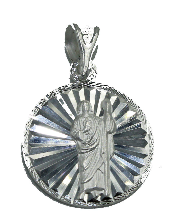Jude Thaddeus San Judas Tadeo Round Pendant .925 Sterling Silver Pendant St
