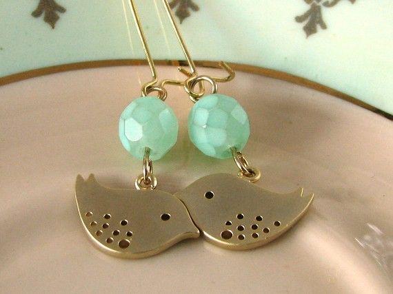 Mint Green Earrings Bird Earrings Lovebird Jewelry by adornyou
