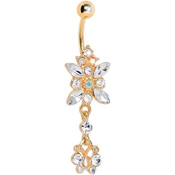 Gold plated clear gem dazzling dangle chandelier belly ring belly gold plated clear gem dazzling dangle chandelier belly ring mozeypictures Images