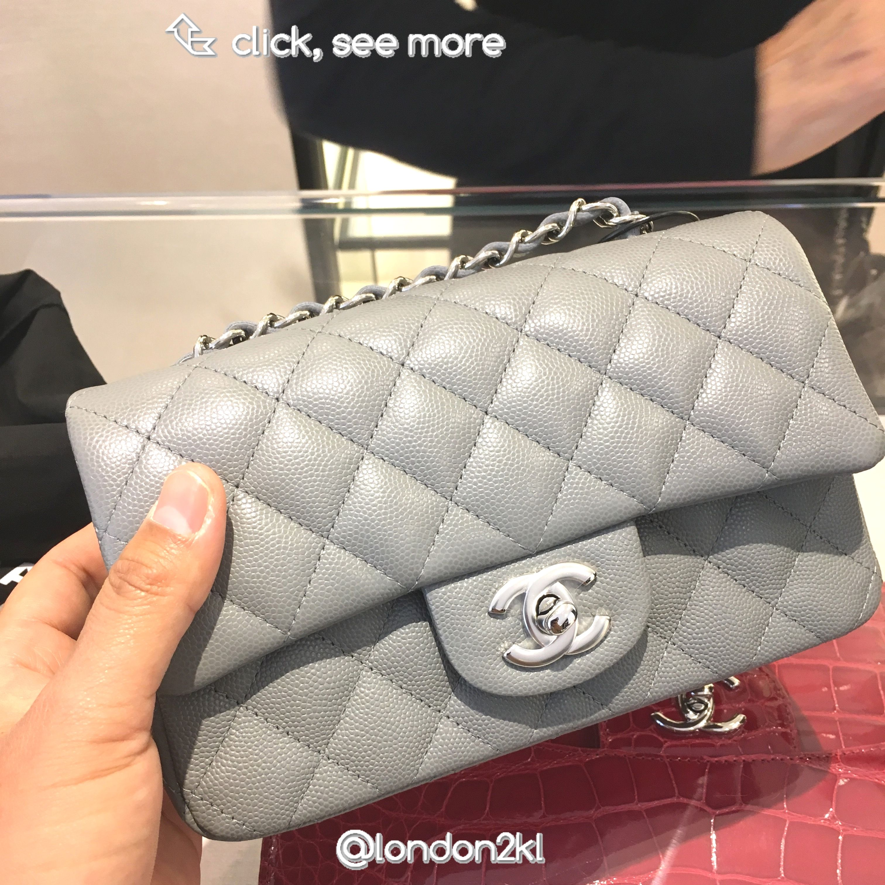 47013bfe59e11d Chanel Mini Rectangular in Grey Caviar RM12,815 | Bags | Chanel mini ...