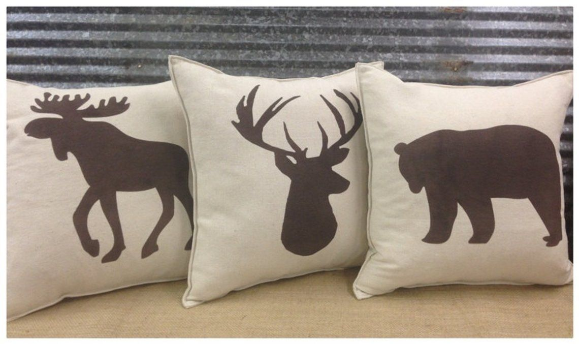 Photo of Decorative Pillow set with a Bear, Deer, & Moose silhouette. COMPLETE pillow set. Cabin decor Hunting decor Man Cave decor Home decor