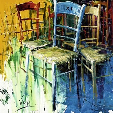 Voka - Bunte Stühle II - Kunstdruck - online im Shop von 1art1 kaufen