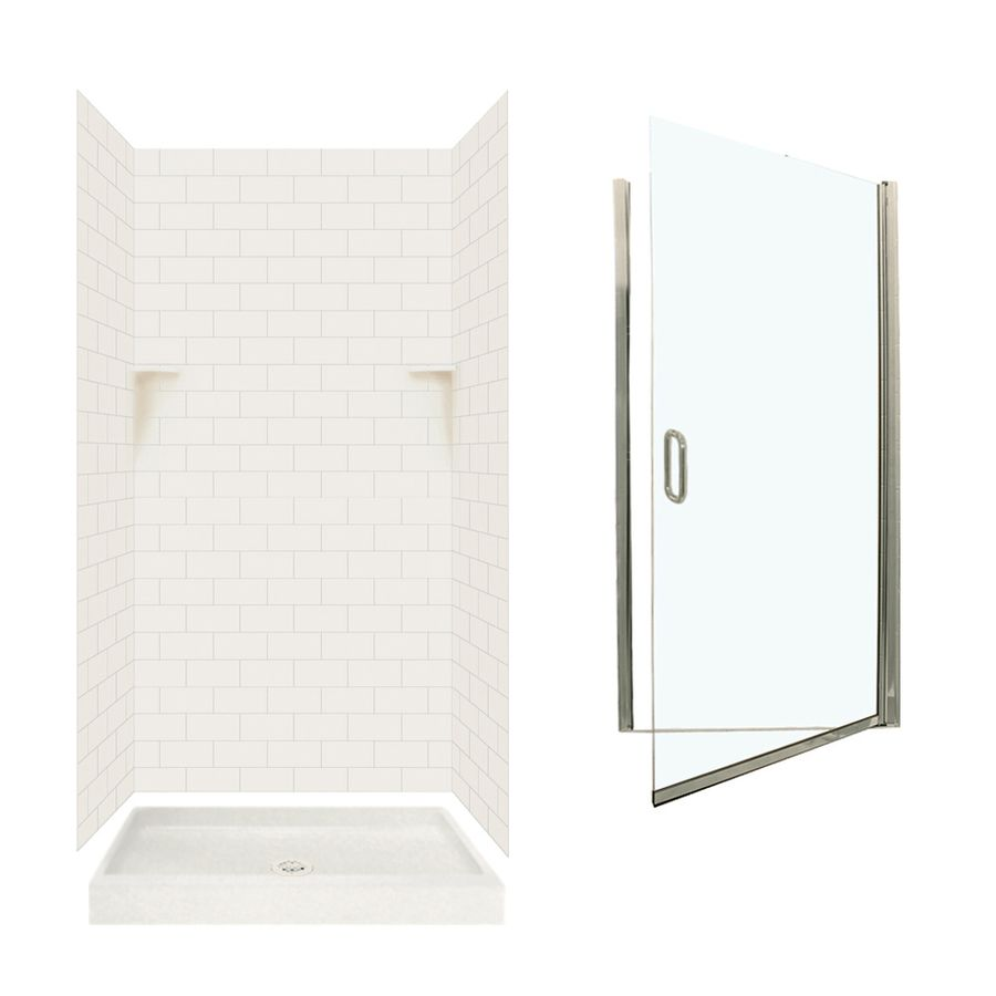 Swan Bisque 5 Piece Alcove Shower Kit Common 36 In X 36 In