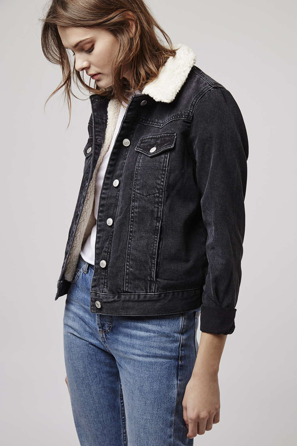 2f7b3b6e0d1 Our Moto Indigo borg jacket is the perfect alternative to blue hues.   Topshop. TALL Borg Denim ...