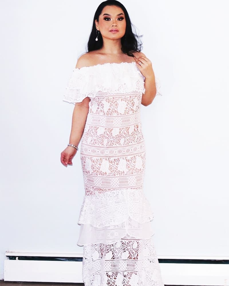 Vita Bardot Lace Maxi Dress With Frill Overlay Fashion