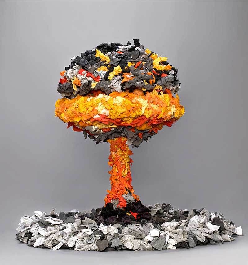 Sculpture In Form Of Mushroom Cloud Made From Discarded