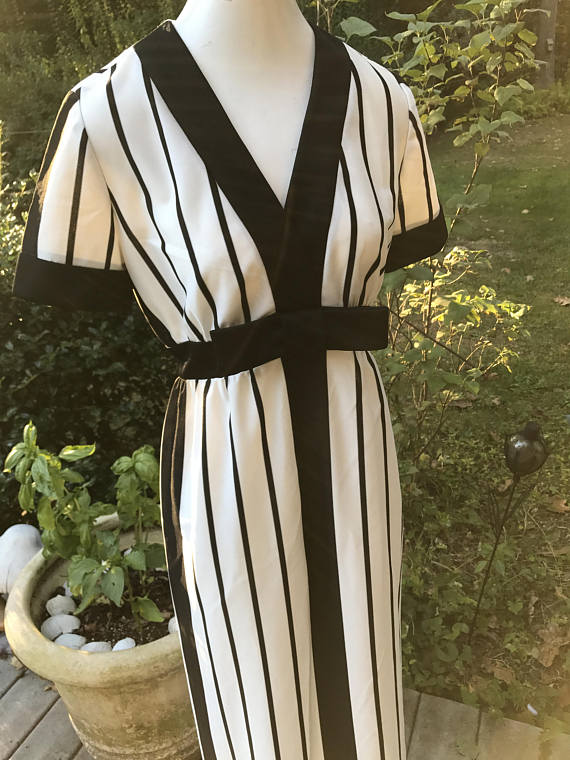 70's Maxi Dress Black and White Bold
