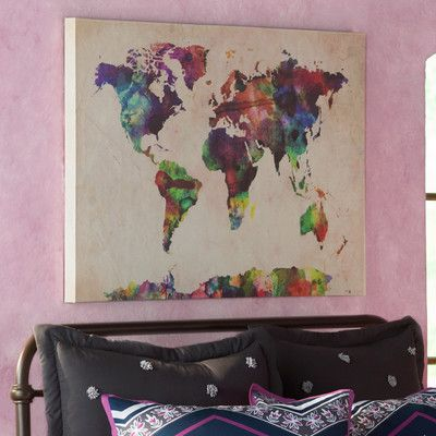 Bungalow rose urban watercolor world map by michael tompsett found it at joss main urban watercolor world map canvas print gumiabroncs Image collections