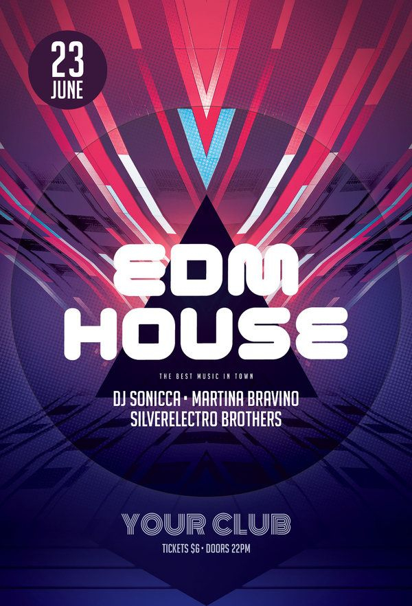 Edm House Flyer  Edm Flyer Design Templates And Flyer Template