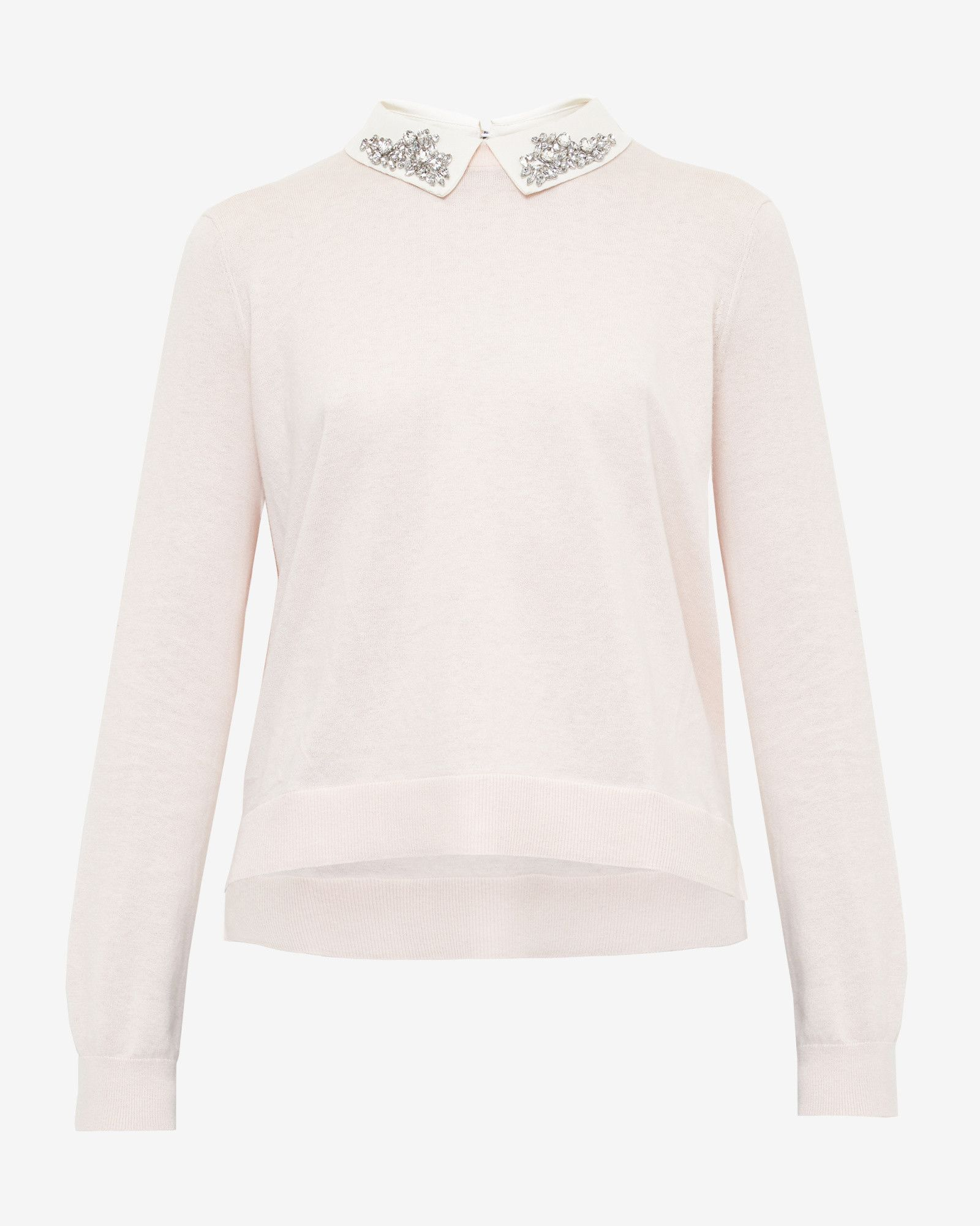 d91cda08210dcf Embellished collar silk-blend sweater - Pink   Sweaters   Ted Baker  #Riverdale #BettyCooper   ♡Shire Bri Loves♡ in 2019   Pink sweater, Jumper  shirt, ...