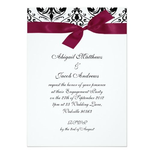 Deals Black Burgundy Ribbon Engagement Party Invitation In our offer link above you will see