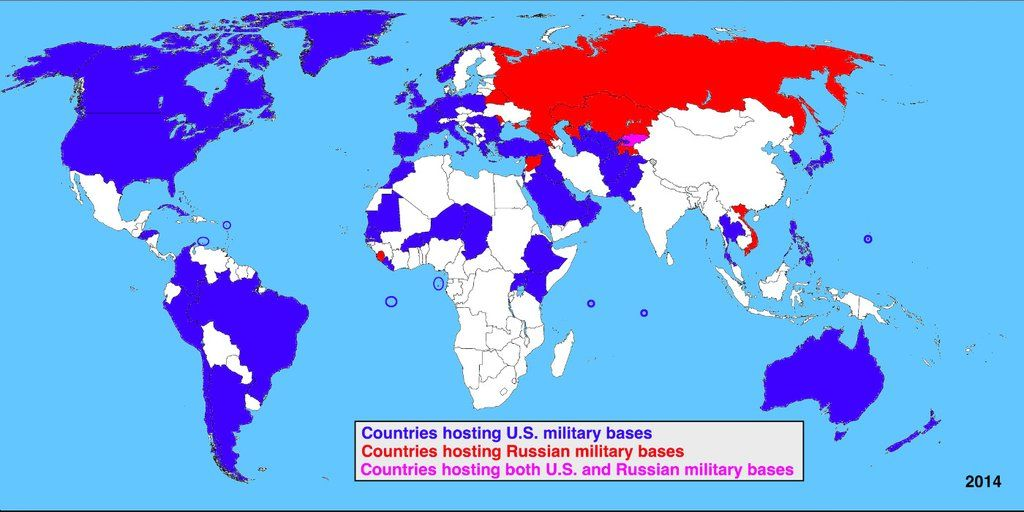 Countries with Russian vs US military bases worldwide. | Us ...