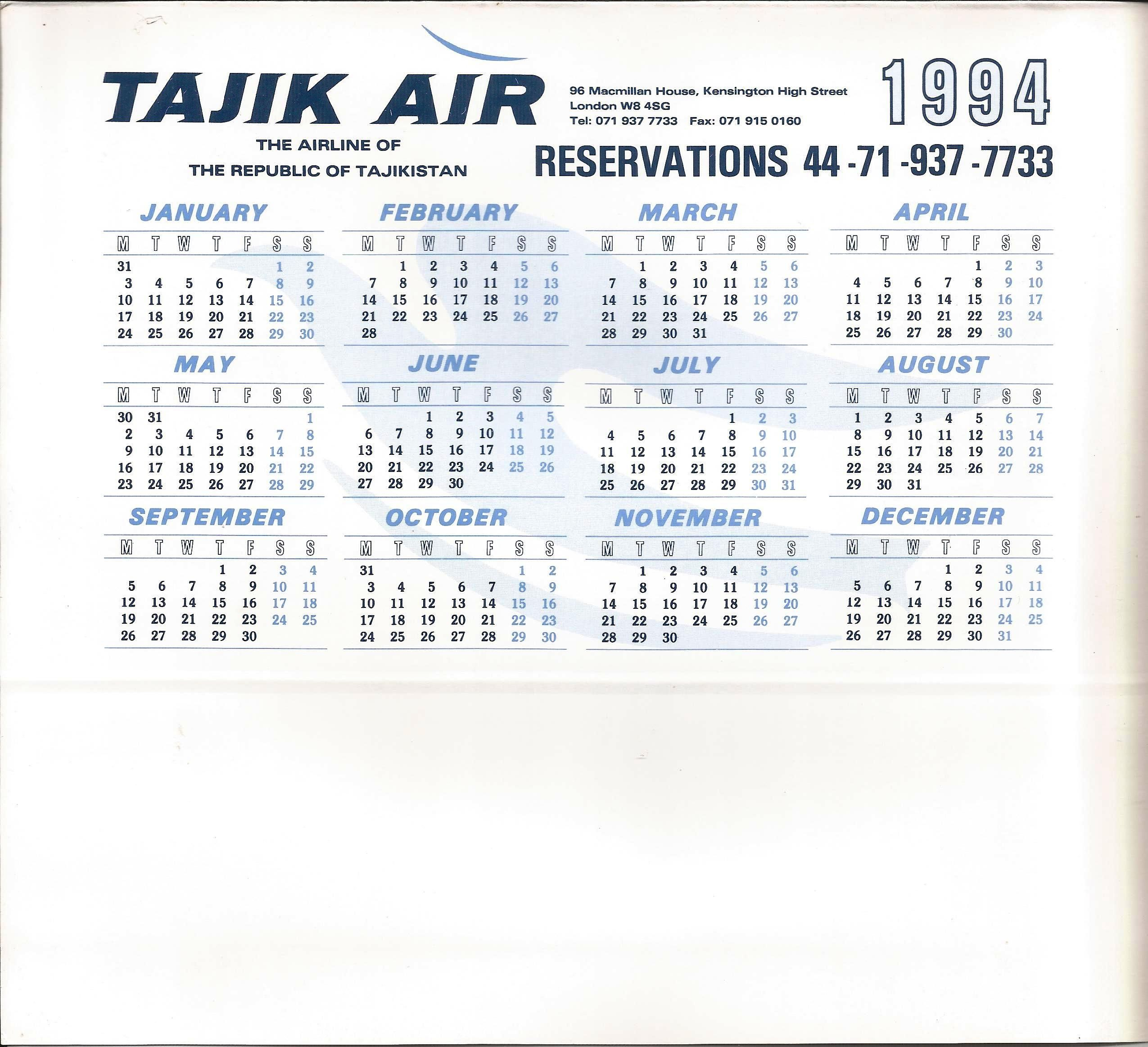 Promotional Desk Calendar Of Tajik Air The National Airline Of