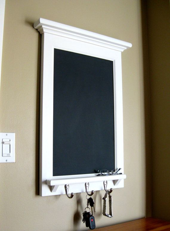 Chalkboard Organizer With Shelf Wood Framed Furniture Key Hook