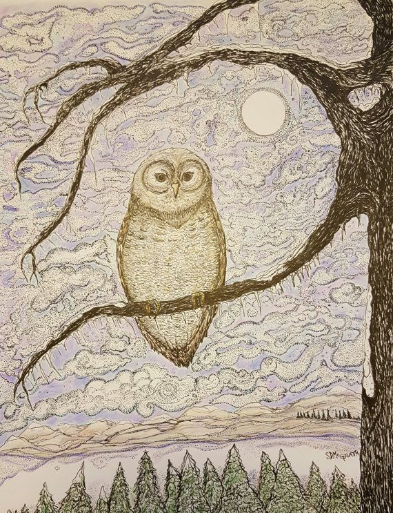 Check out this item in my Etsy shop https://www.etsy.com/listing/262369125/owl-in-tree-in-the-icy-moonlight-titled