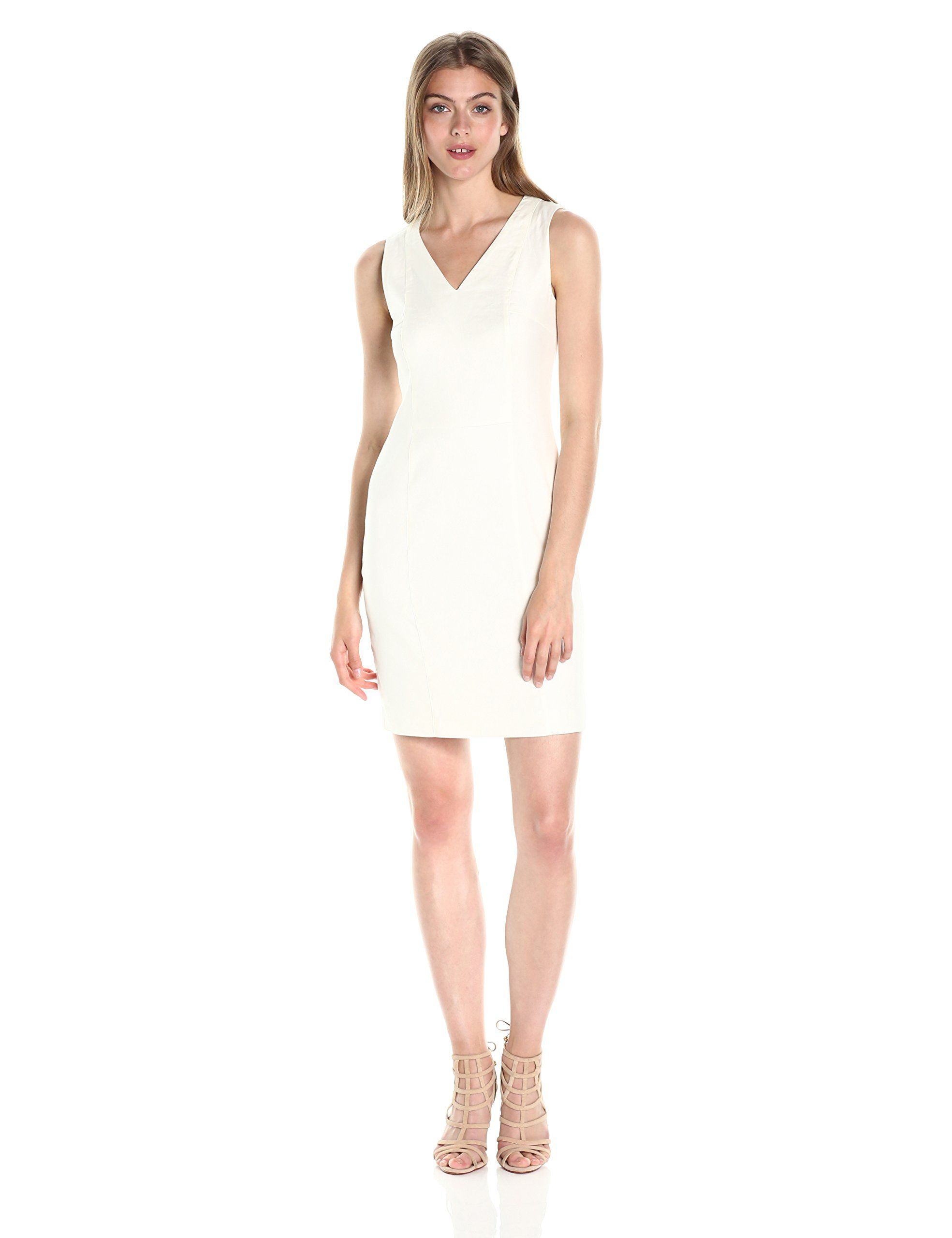 0cffdd6d81 AX Armani Exchange Womens V Neck Short Sleeved Linen Mini Shift Dress White  14    Want to know more