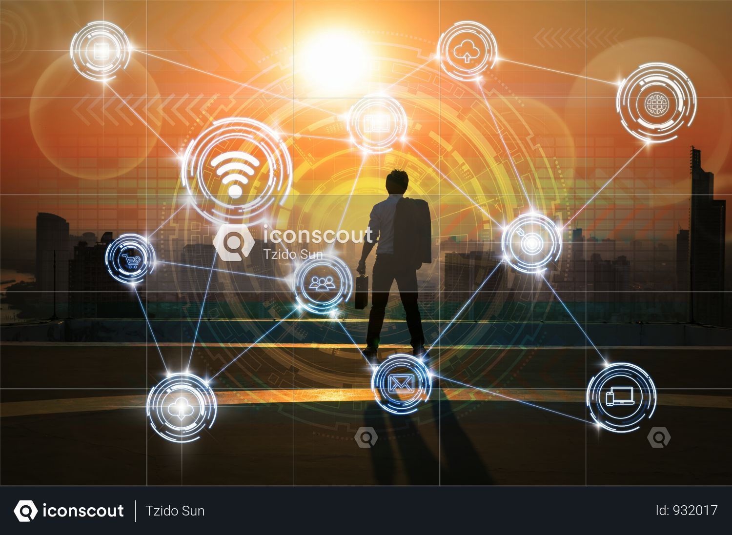 Premium Businessman Standing With Carrying The Bag And Looking Vision Over Wireless Communication Connecting Of Smart City Internet Of Things Technology Over Th Smart City Technology Photos Cityscape