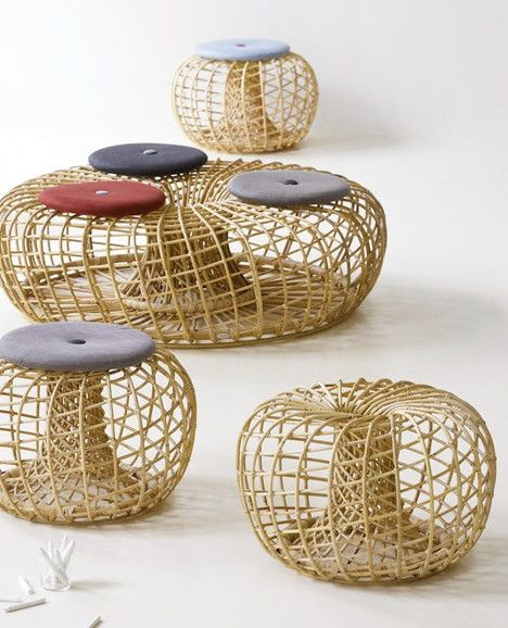 rattan pouf nest by cane line design foersom hiort lorenzen candace young line bamboo. Black Bedroom Furniture Sets. Home Design Ideas