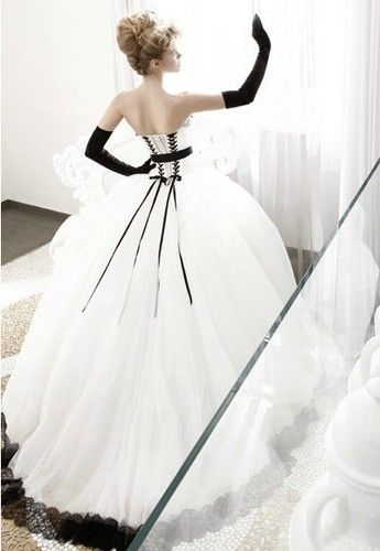 8b665b96f743 Hot Sale Black White Simple Wedding Dress Nuptial Dress Quinceanera Ball  Gown | eBay